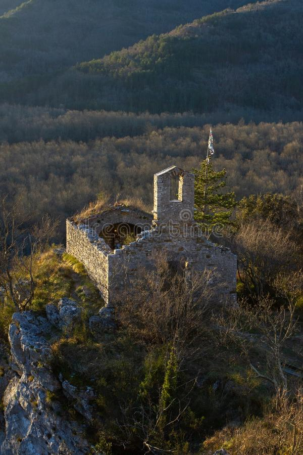 Vertical high angle shot of an old ruined historic castle in the mountains of Istria, Croatia stock photography