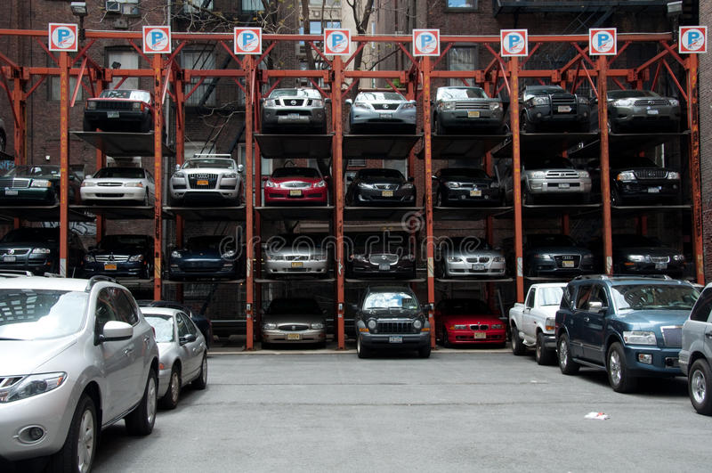 Download Vertical Hydraulic Parking Spaces, New York City Editorial Photography - Image: 20007072
