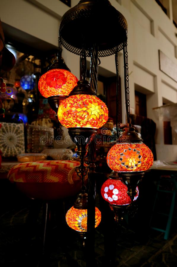 Vertical Image of Arabian Style Colorful Hanging Mosaic Lanterns at Night. Background stock images