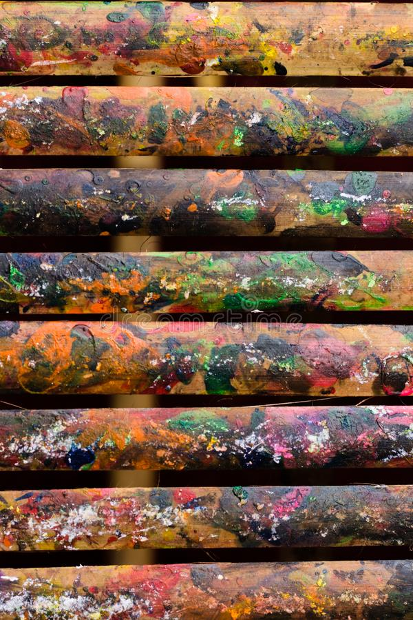 Grunge Bamboo Bars Texture with Colors Spatter for Abstract Background. Vertical image of grunge colorful spatters on bamboo bars texture for background, website royalty free stock images