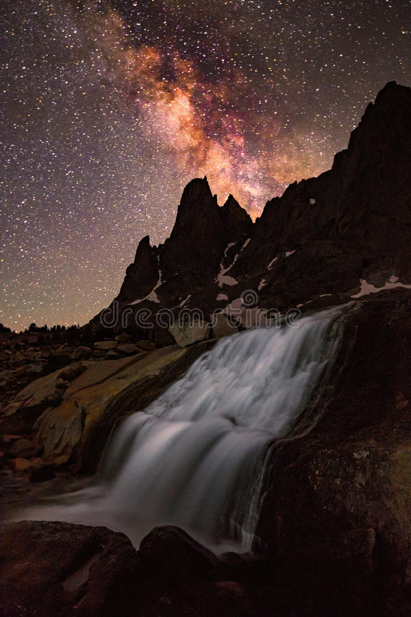 Vertical image of the Milky Way above the Wind River Mountains. stock photos