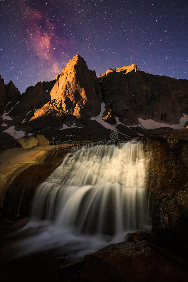 Vertical image of the Milky Way above the Wind River Mountains. royalty free stock image