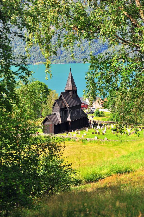 Vertical image of Ornes stave church on fjords royalty free stock images