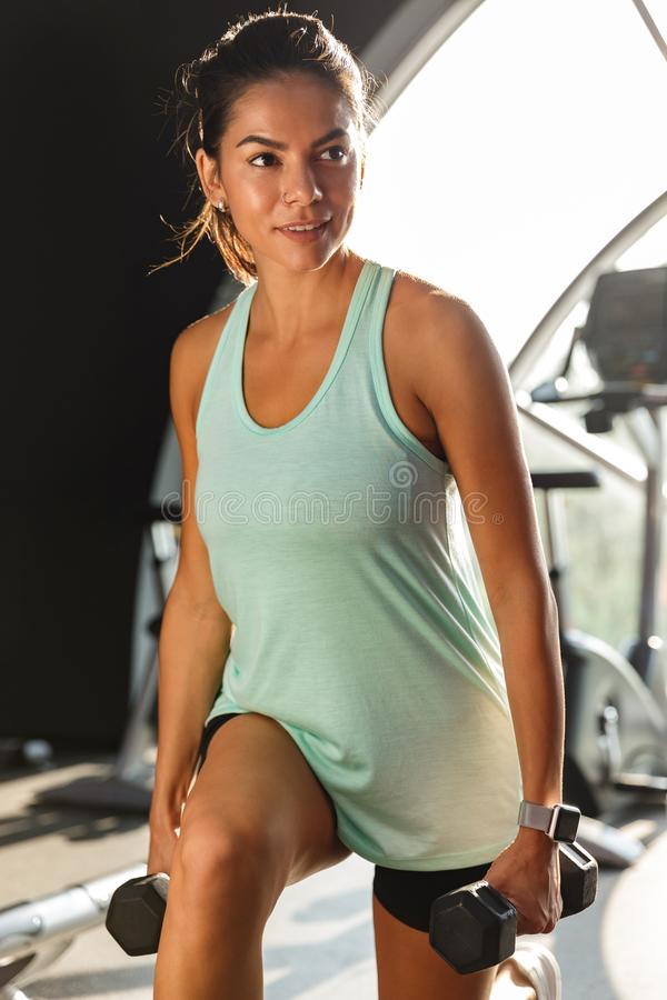 Vertical image of Smiling sports woman doing fitness exercise royalty free stock images