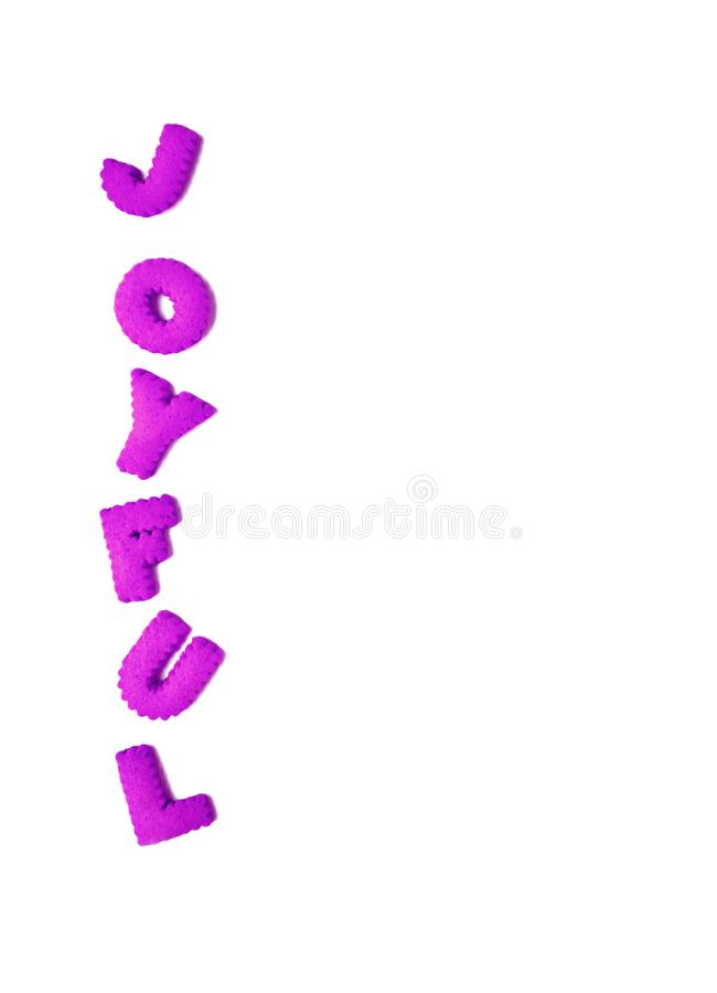 Vertical image of text JOYFUL spelled with vivid purple color alphabet shaped cookies royalty free stock images