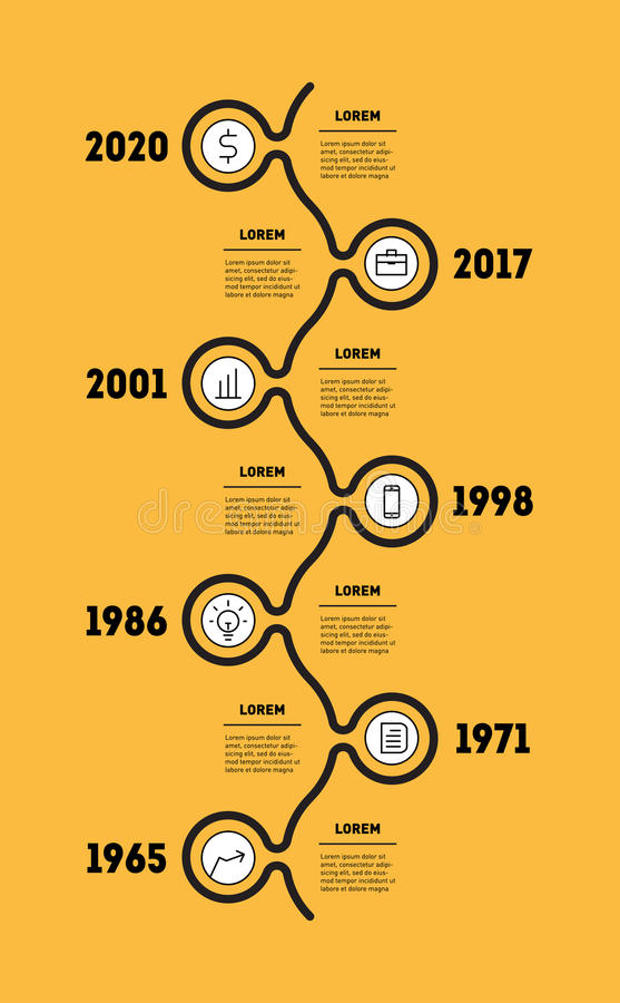 Vertical Infographic timeline. Business concept with seven options, parts, steps or technology processes. Vector web template for. Presentation with icons. Time vector illustration