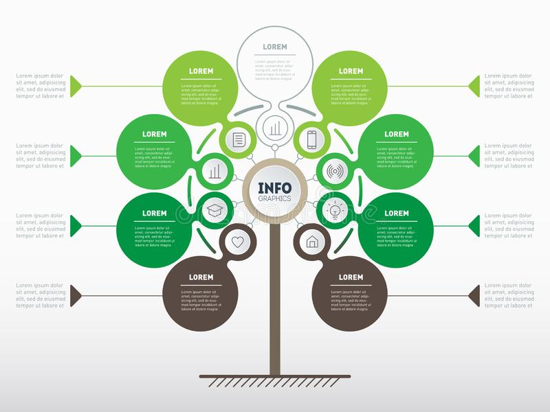 Vertical infographics or Timeline. Tree of development and growth of the eco business. Infographic of tendencies and trends graph. Business presentation vector illustration