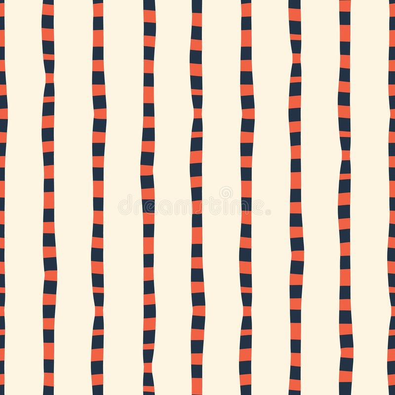 Vertical irregular hand drawn stripes red blue white seamless vector background. Repeating lines abstract pattern. Naive stock illustration