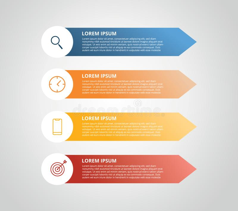 Vertical label infographic with 4 step with icon for business process - vector illustration. Vertical label infographic with 4 step with icon for business royalty free illustration