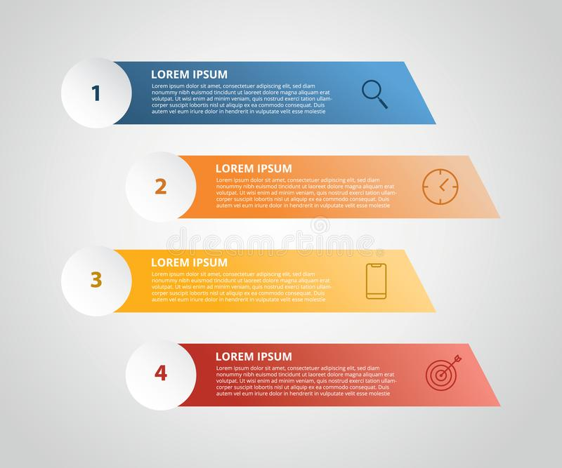 Vertical label infographic with 4 step with icon for business process - vector illustration. Vertical label infographic with 4 step with icon for business vector illustration
