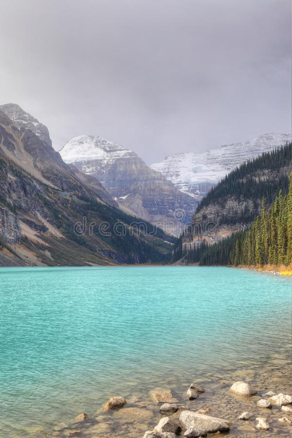 Vertical of Lake Louise in Banff National Park, Canada. A Vertical of Lake Louise in Banff National Park, Canada stock images