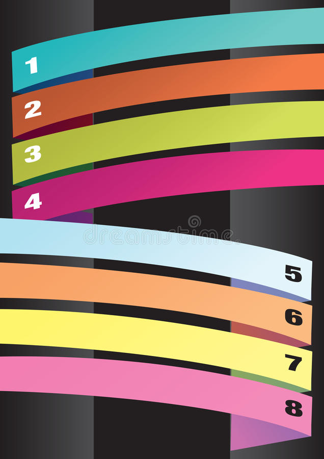 Vertical Layout with Colorful Numbered Strips. Vector abstract background design with colorful numbered banners for copy space across page. Art elements on black vector illustration