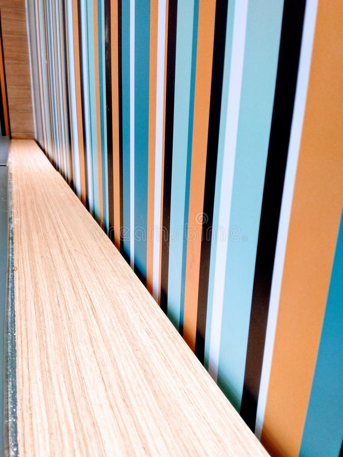 Vertical line and wood-like wall decoration design stock images