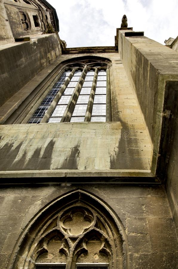 Cathedral of St. Peter and Paul in Naumburg, Germany. Vertical lines of part of the facade of the Gothic Cathedral of the Apostles Peter and Paul in Naumburg royalty free stock photos