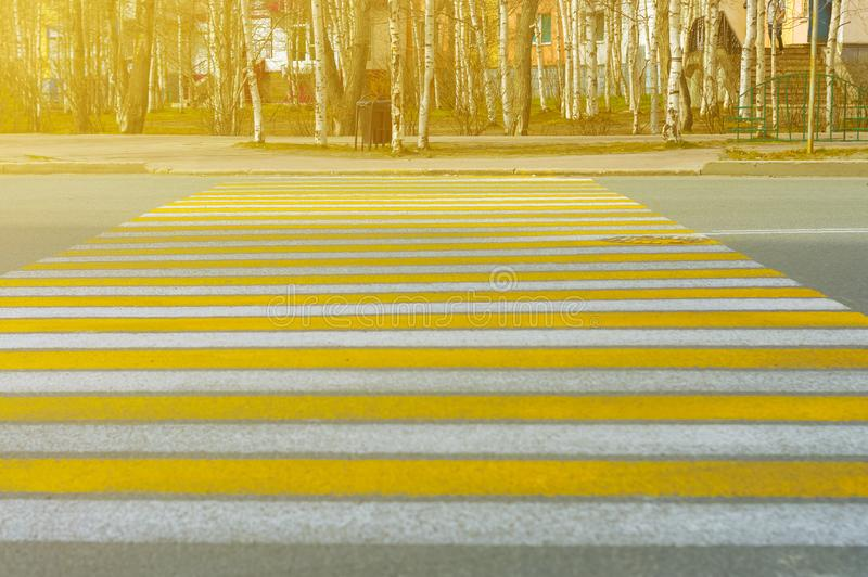 Vertical lines of road markings are white and yellow at a pedestrian crossing on a city street on a sunny evening. Cityscape stock photo