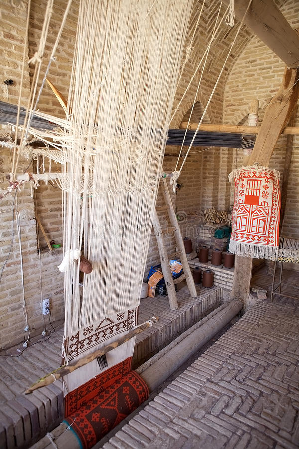 Vertical loom. Used to weave a carpet at Meybod, Iran royalty free stock images