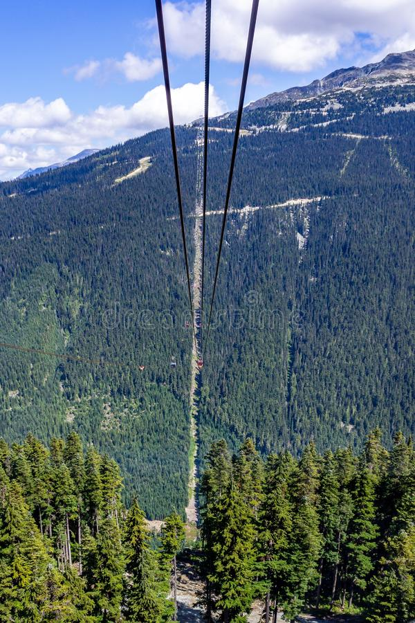 Vertical low angle shot of the rope of cable cars at the Peak Cablecar in Whistler Canada. A vertical low angle shot of the rope of cable cars at the Peak stock image