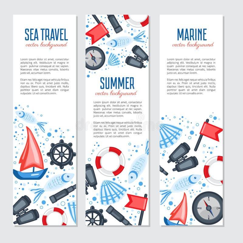 Vertical marine vector banner, cartoon illustration, Red flag, steering wheel, compass, ship, seashell, fish, binoculars vector illustration