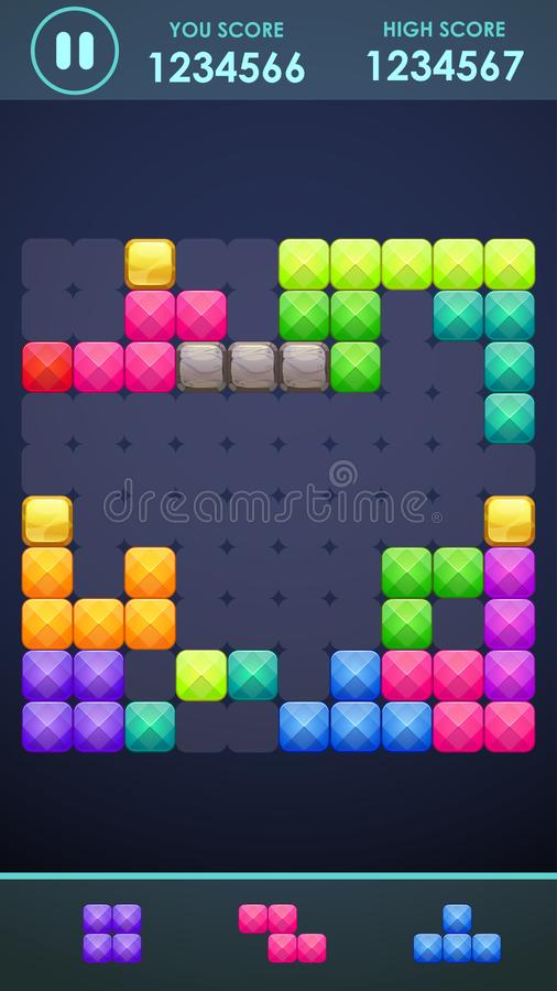 Vertical mobile phone screen with block game playing process. Colorful puzzle elements on the game board. stock illustration