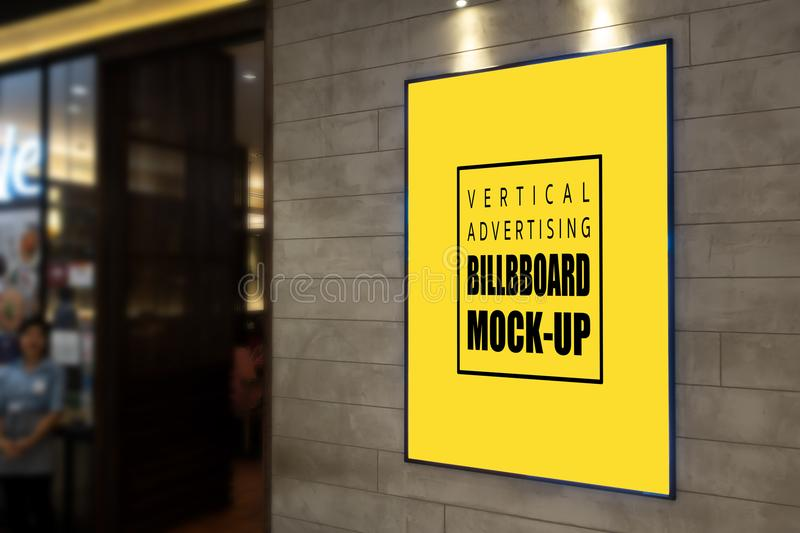 Vertical Advertising billboard mock up on the wall stock photography