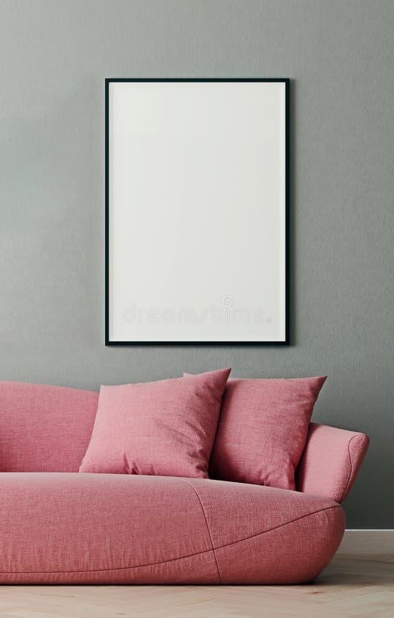 Vertical mock up poster frame in modern interior background, millennial pink sofa in living room, Scandinavian style. 3D render, 3D illustration vector illustration