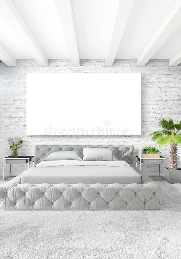 Download Vertical Modern Interior Bedroom Or Living Room With Eclectic Wall And Empty Frame For Copyspace