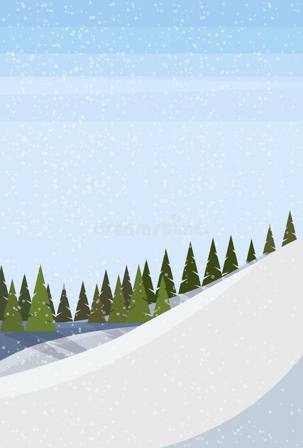 Vertical nevado do fundo da paisagem da floresta da árvore de abeto do monte da montanha do inverno horizontalmente ilustração do vetor