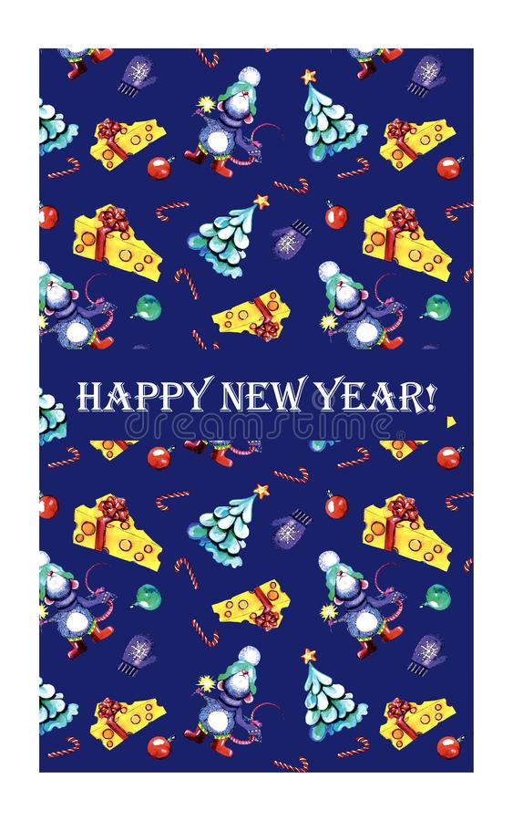 Vertical new year greeting card with rat stock photos
