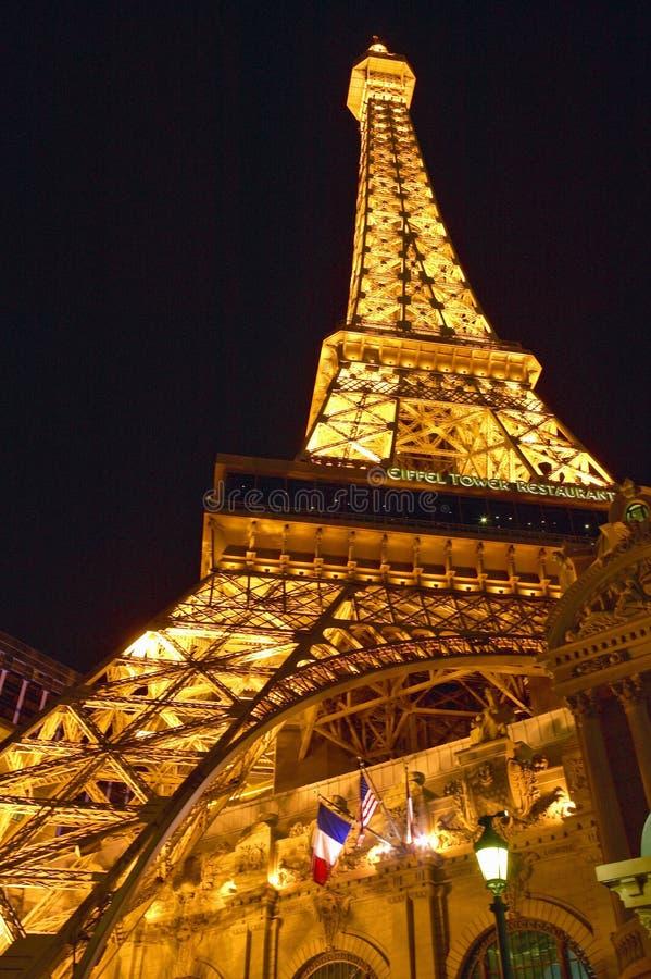 Vertical night view of Eiffel Tower at Paris Casino, Las Vegas, NV stock photos