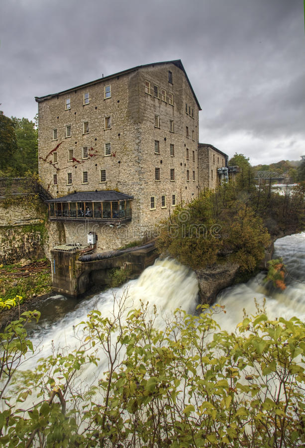 Vertical of the old mill in Elora, Canada. A Vertical of the old mill in Elora, Canada royalty free stock photography