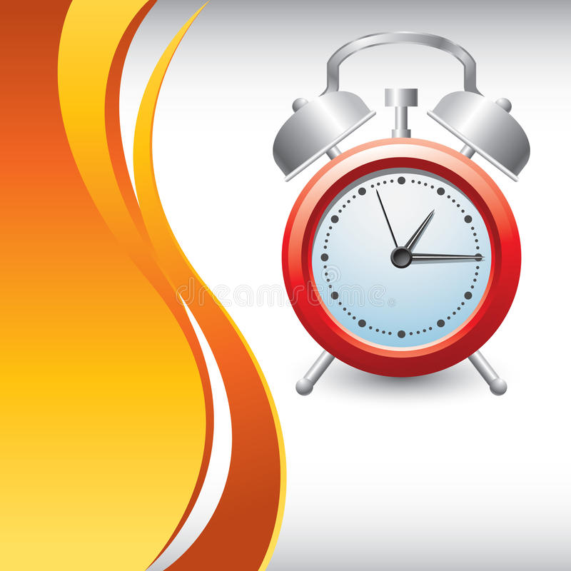 Vertical orange wave backdrop with alarm clock vector illustration