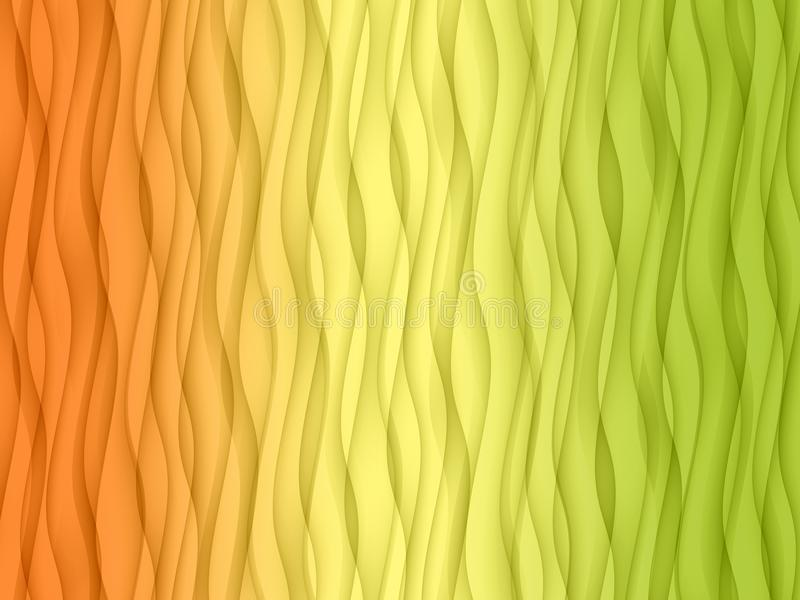 Vertical overlapping orange yellow green abstract wavy curves wallpaper background royalty free illustration