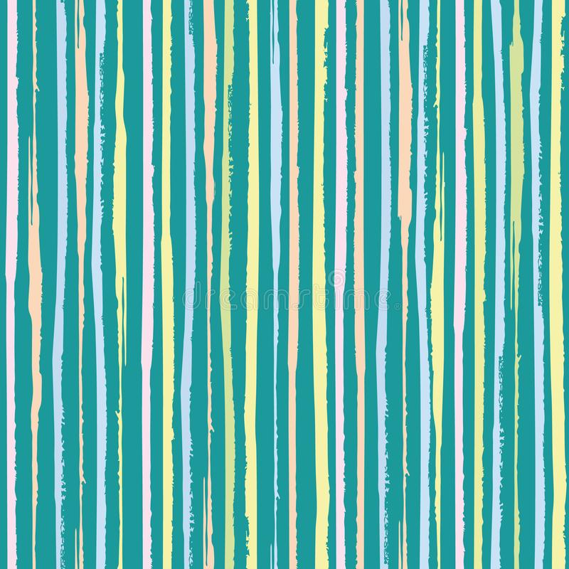 Vertical painterly pink, blue, coral pastel stripes. Dense seamless vector pattern on turquoise teal background. Great stock photo