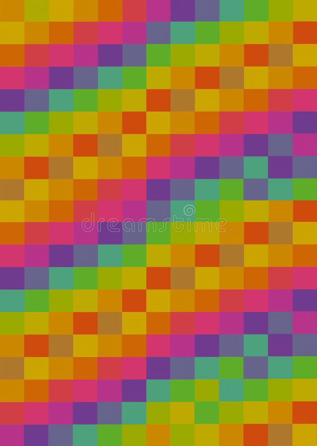 Vertical panel colorful background squares multicolour yellow orange pink pattern abstract art design royalty free stock photography
