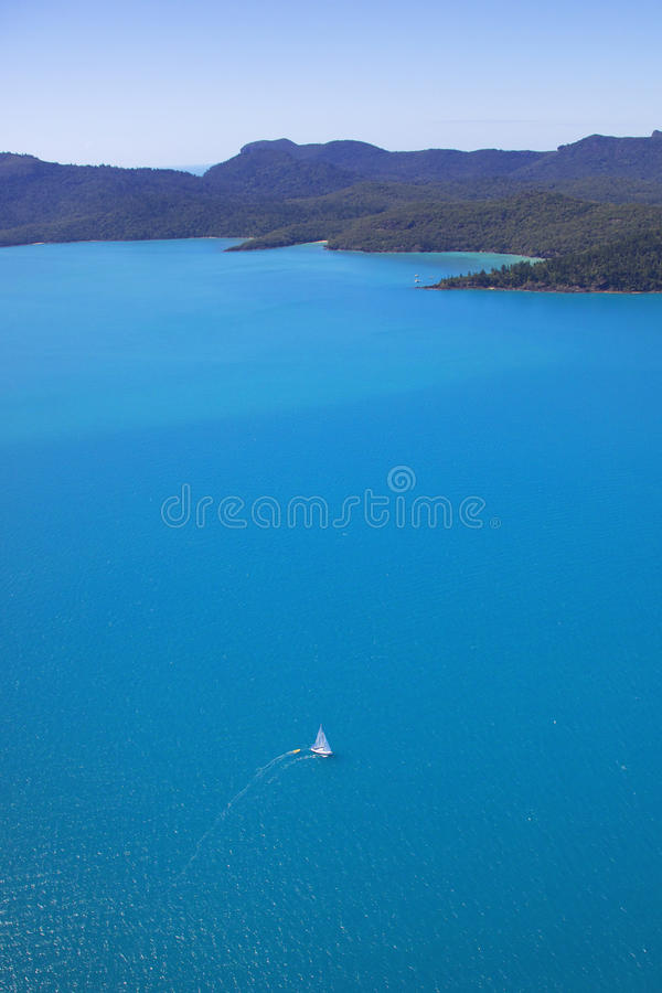 Vertical panorama aerial of sailing boat in Whitsu royalty free stock photos