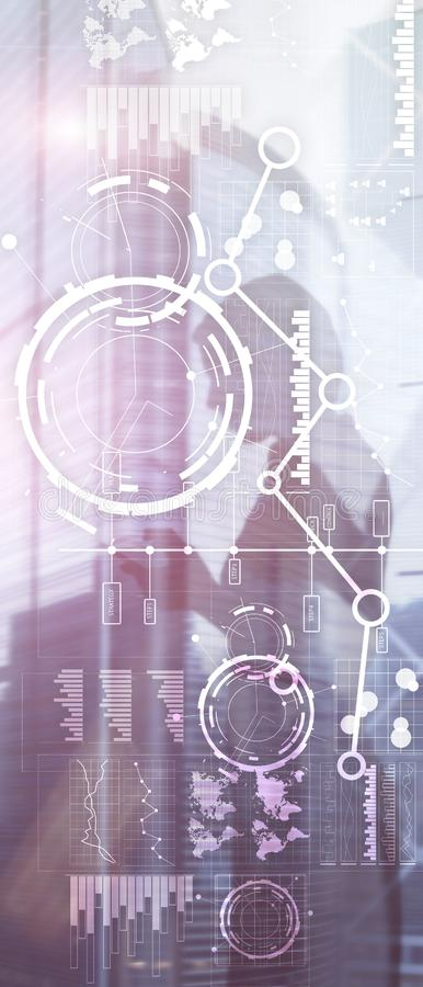 Vertical Panorama Banner. Business interface mixed media double exposure financial chart graph diagram and icon on virtual screen. Innovation concept stock illustration