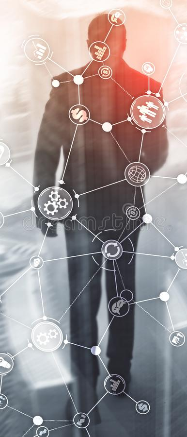 Vertical Panorama Banner. Business process structure industrial workflow diagram automation innovation concept on. Virtual screen mixed media stock images
