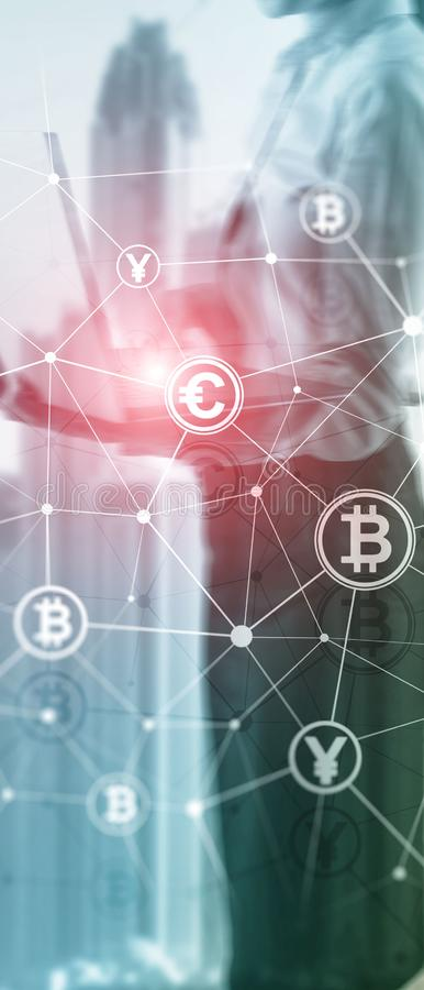 Vertical Panorama Banner. Double exposure Bitcoin and blockchain concept. Digital economy and currency trading. stock photography