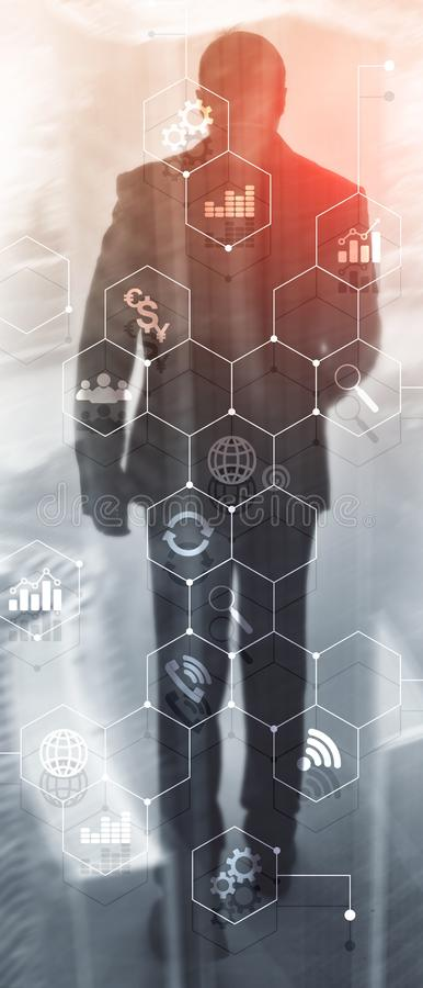 Vertical Panorama Banner. Double exposure mixed media. Diagrams and icons on hologram screen. Business people and modern. City on background royalty free illustration