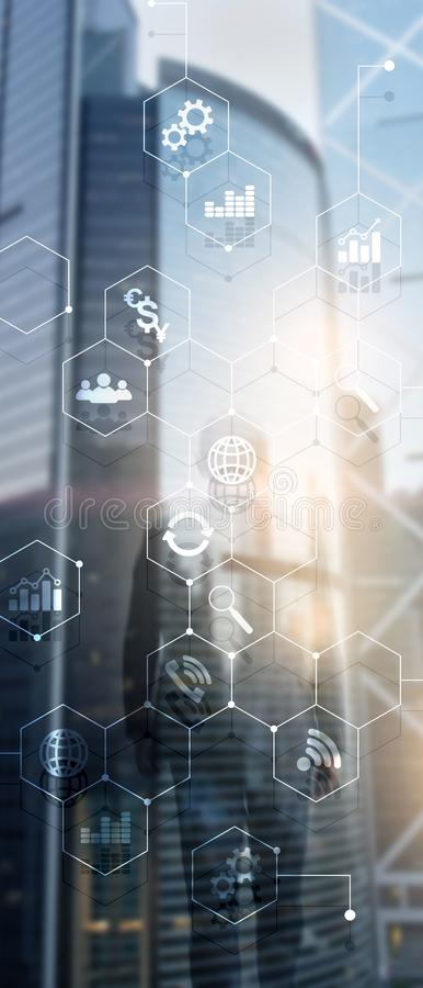 Vertical Panorama Banner. Double exposure mixed media. Diagrams and icons on hologram screen. Business people and modern city on b. Ackground stock illustration
