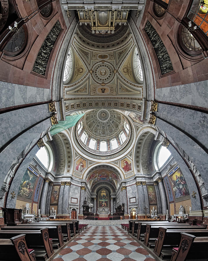 Vertical panorama of the interior of Esztergom Basilica, Hungary stock images