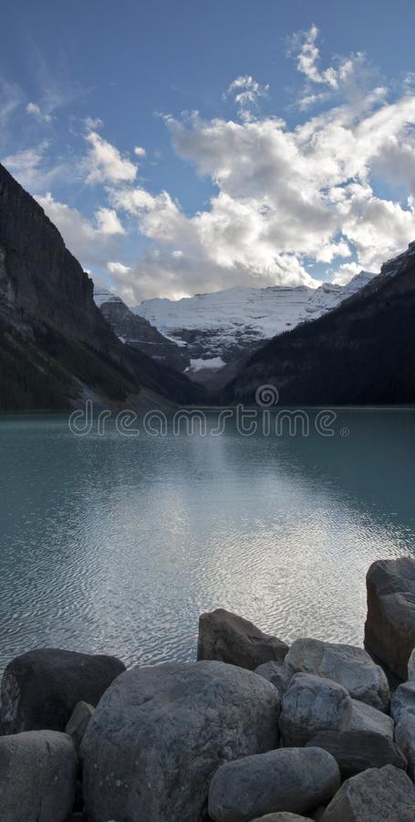 Vertical panorama of Lake Louise. A vertical panorama of Lake Louise in Alberta, Canada royalty free stock photo