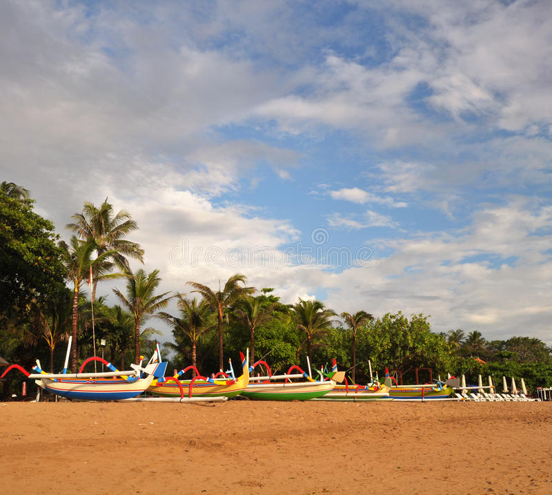 Vertical Panorama View of colorful Bali Boats stock image
