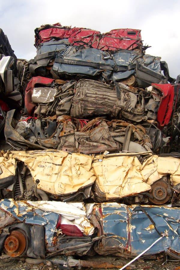 Vertical parking. Pile of compressed cars in Tromsoe, norwegian arctic region stock photo