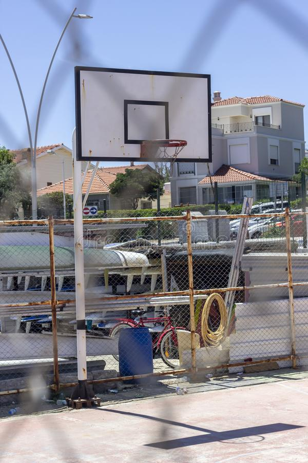 Vertical perspective shot of basketball hoop from metal wires. Clear shot stock images