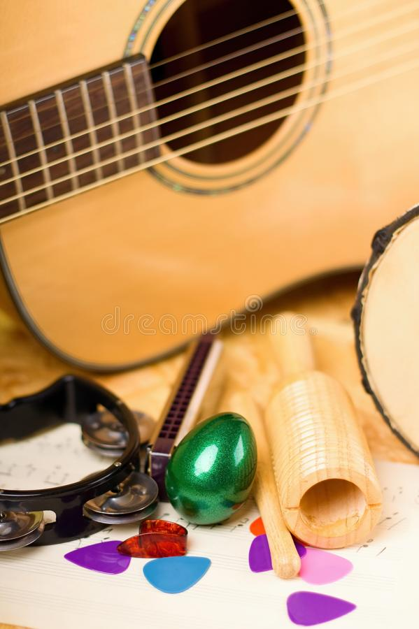 Vertical photo of egg shaker among other instruments royalty free stock photos