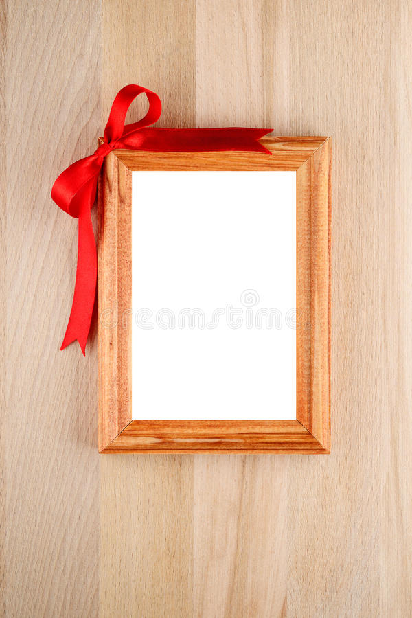 Vertical photo frame with bow royalty free stock image