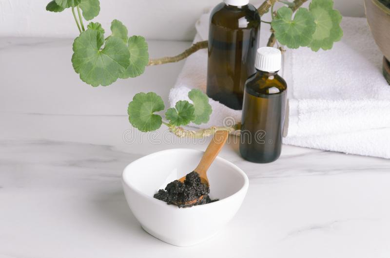 Concept of body care, spa procedures with coffee scrub,aromatic oils stock images