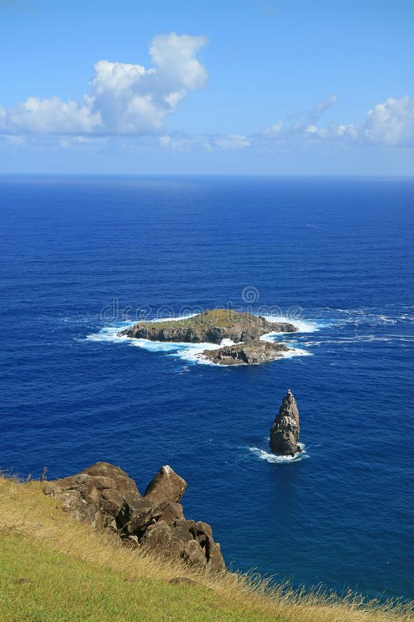 Vertical Photo of Motu Nui Island, with the smaller Motu Iti Island and the Motu Kao Kao Sea Stack as seen from Orongo Village. On Easter Island, Chile royalty free stock image