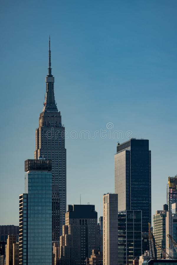 Vertical photo New York cityscape skyscrapers royalty free stock photos
